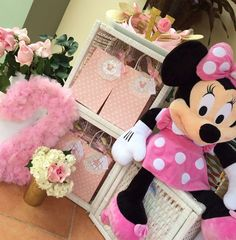 Decorations at a pink and gold Minnie Mouse birthday party! See more party planning ideas at CatchMyParty.com!
