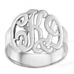 Designer Monogram Initials Ring (Order Any Name) Sterling Silver $69