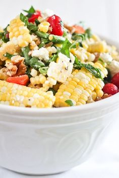 Grilled Roasted Corn Salad with Tomatoes, Goat Cheese, and Walnuts....
