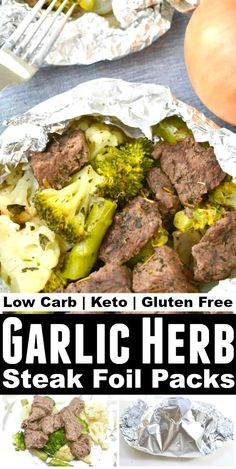 Keto Garlic Herb Steak Foil Packs - Easy Low Carb Dinner Recipe Click The Image To Learn No Carb Recipes, Healthy Low Carb Recipes, Low Carb Dinner Recipes, Healthy Eating Tips, Ketogenic Recipes, Keto Dinner, Sausage Recipes, Steak Recipes, Salmon Recipes