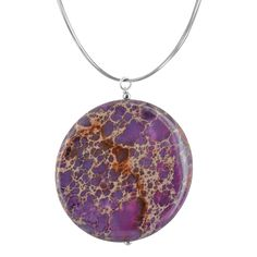 Lilac Jasper Gemstone Sterling Silver Handcrafted Pendant on a Stainless Steel Wire Necklace by Ashanti