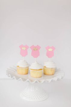 onesie cupcake topper onesie with crown cupcake by PoshPrettyPaper