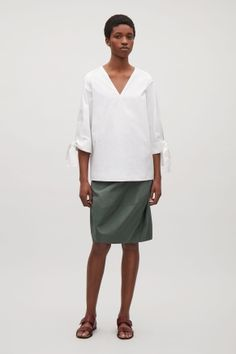 A-line top with tied cuffs