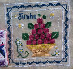 Little House Needleworks Monthly Sampler June Cross Stitch Ponto Cruz