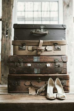 add vintage shoes near the suitcases--Train Station look