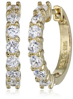 335fd982a 18k Yellow-Gold Plated Sterling Silver and Cubic Zirconia Hoop Earrings  (0.7 cttw)