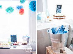 Aaltoja-blogin Sonja laittoi ristiäisjuhlien kattaukseen mukaan Spring Aqua Premium -pullot.