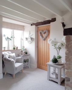 Lounge - creating a cosy corner. Hearts Greys Home decor West Barn Interiors Cottage Living Rooms, Cottage Interiors, My Living Room, Living Room Decor, Interior Design Living Room, Living Room Designs, Kitchen Interior, Cottage Shabby Chic, Grey Home Decor