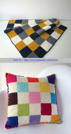 Dijon blanket & Lucy pillow, free pattern & tutorial by Marianne Dekkers-Roos of maRRose Colorful Crochet & Crafts.  Squares are easy slip-stitch & HDC, join-as-you-go. (Lucy pillow - http://marrose-ccc.com/2015/04/16/the-lucy-cushion/ ) . . . . ღTrish W ~ http://www.pinterest.com/trishw/ . . . .  #afghan #blanket #throw #pillow