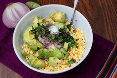 Raw Corn & Avocado Salad @http://www.eatingbirdfood.com/2011/07/raw-corn-and-avocado-salad-a-recipe-worth-repeating/