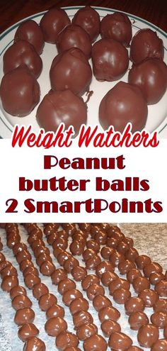 These candies are like Reese's Peanut Butter Cups and are fun for kids to make because you don't have to cook them. #weightwatchers #weight_watchers #Healthy #peanut #butter #skinny_food #balls #recipes #smartpoints #yummy #skinnyrecipes #kidsrecipes #peanut_butter_balls #smartPoints
