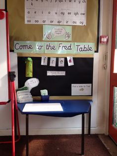 My Read Write Inc Fred Table Phonics Reading, Reading Activities, Classroom Activities, Classroom Ideas, Writing Corner, Writing Area, Writing Table, Read Write Inc, Reception Class