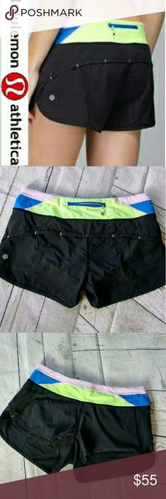 Lululemon speed shorts Lululemon speed shorts. Multi color band. Inside liner. The perfect shorts for workout or everyday wear. lululemon athletica Shorts