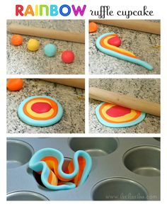 LeeLaaLoo: Rainbow Ruffle Cupcake