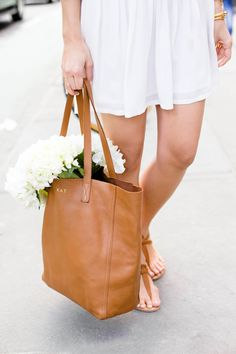 white flowers in a tote