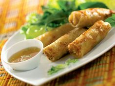 Chicken Nems (Spring Rolls), a Chinese recipe from the Worldwide Gourmet Vietnamese Recipes, Asian Recipes, Ethnic Recipes, Vietnamese Food, Appetizer Sandwiches, Appetizers, Stuffed Peppers Healthy, Healthy Cook Books, Eat Healthy