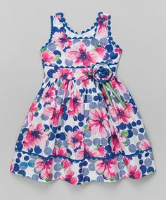 This Blue & Pink Floral Rickrack Dress - Toddler & Girls by Jayne Copeland is perfect! #zulilyfinds