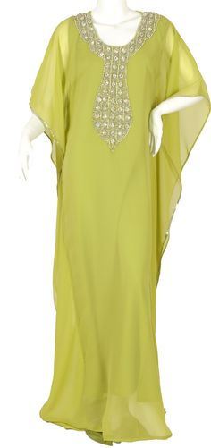 """""""The Key Lime Kaftan"""" Pure chiffon butterfly jalabiya with hand embroidery (N-9925) Not sure how this shade of green would look on me but I love the cut!"""