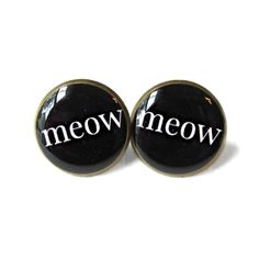 Black and White Crazy Cat Lady Meow Stud Earrings