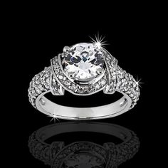 1.96 ctw Unique Engagement Ring  i love how the diamond has a wrapped up feel