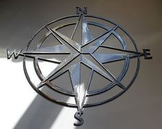 "Nautical COMPASS ROSE  WALL ART DECOR 34""  Silver Version - Wall Sculptures"