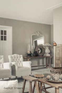 Grey living space ~ lovingly pinned by www. Style Cottage, Sweet Home, Living Comedor, French Decor, Home And Deco, Grey Walls, Interior Design Living Room, Home And Living, Decorating Your Home