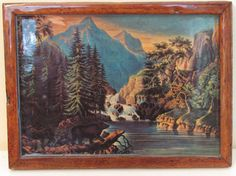 Perfect for a dorm room, office, or man cave! Look at the little bear!  Small Vintage Framed Mountain Wall Art  by Mary&Geneva MaryAndGeneva.etsy.com