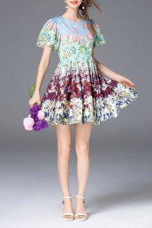 High Waist Mini Print Dress