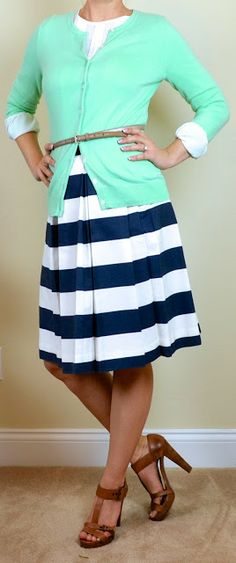 White Blouse and Pencil Skirt. Could mix and match the skirt color ...