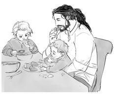 Thorin and little Fili and Kili having dinner