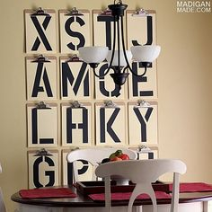 Clip board typography wall art with oversized stencils