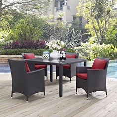 Convene 5 Piece Outdoor Patio Dining Set, Espresso Red - Gather stages of sensitivity with the Convene outdoor sectional series. Made with a synthetic rattan weave and a powder-coated aluminum frame, Convene is a versatile outdoor collection that shifts and combines according to the spontaneous needs of the moment. Outfitted with all-weather fabric cushions, leave a positive impression on friends and family while enhancing your patio, backyard or poolside repast in this series of palpable…