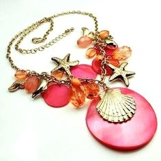 Nautical Beach Necklace Gold Charms Starfish Shell Dolphin Pink Beads USA Seller #Merona #Cluster