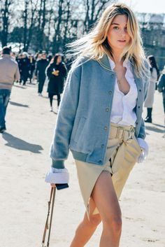 In awe with this light blue #bomber