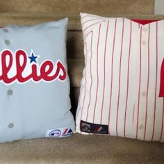 Sports Jersey Pillow Tutorial  for Jasons sports room that Ill never get around to doing.