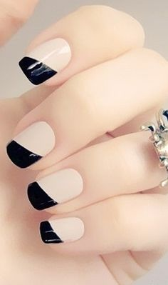 cute manicure with black tips