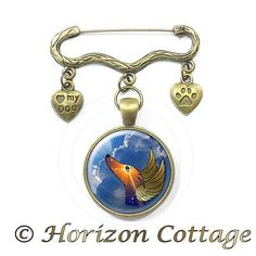 Brooch Pin  On Golden Wings  Greyhound Memorial by HorizonCottage