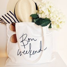 Bon Weekend canvas totes by The Atelier, $23
