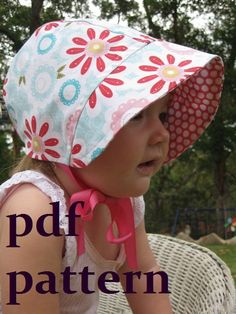***This listing is for a PDF Pattern Only. The actual bonnet is not included.***  This little bonnet is perfect for any young baby - girl or