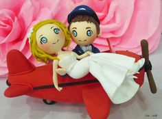 Custom Red Airplane wedding cake topper clay doll,Groom lift Bride clay miniature,ring holder clay figurine,clay couple anniversary decor on Etsy, $165.00