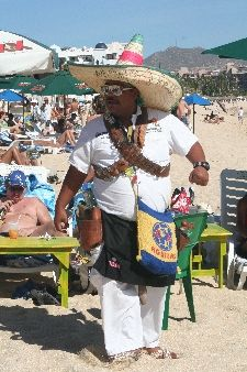 Cabo San Lucas. Beachside tequila shot mobile barman. Yes, in Cabo San Lucas, the bar comes to you! In truth, you needn't stir all day from the beach here: food, drink, shopping, activities - all are for sale on the beach from characters as colourful as the markets just a block from the waterside.