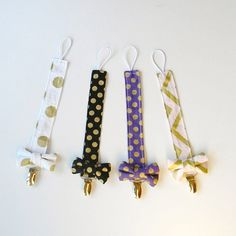 This listing is for pacifier clip    Black OR purple OR white golden polka dot OR light pink and gold chevron    Cotton pacifier clip with