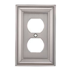 allen   roth1-Gang Satin Nickel Standard Duplex Receptacle Metal Wall Plate. Replace all in dining room also do light outlets aswell