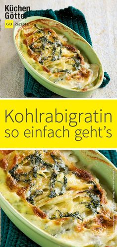 Kohlrabi and potato gratin- Kohlrabi-Kartoffel-Gratin are easy to prepare and very fast on the table. With our delicious Kohlrabi potato gratin you get all fed up and it is so you would like to have another look! Pizza Recipes, Grilling Recipes, Veggie Recipes, Vegetarian Recipes, Dinner Recipes, Snacks Recipes, Keto Snacks, Cooking Recipes, Kohlrabi Gratin