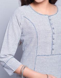 Cotton Khadi Top Stitch Detail Mini Kurta