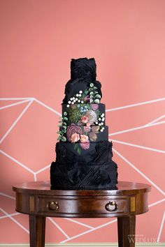 an unusual but still lovely black wedding cake