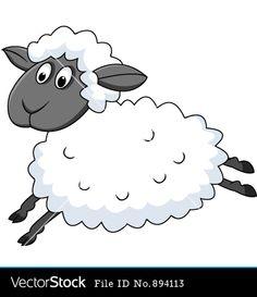 Cute sheep cartoon vector image on VectorStock Funny Sheep, Cute Sheep, Sheep Cartoon, Sheep Art, Cartoon Pics, Funny Cartoons, Vector Art, Art Drawings, Hello Kitty