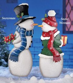 Kissing Mr and Mrs Snowman Yard Art Stakes  2 Pcs * This is an Amazon Affiliate link. Click image to review more details.