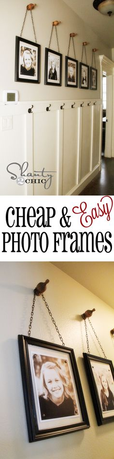 Cheap & Easy Picture Frames!  All you need is a hot glue gun... Woohoo!  AND; SOME CHEAP FRAMES, CHOICE OF FABRIC AND FOAM CORE TO FIT FRAME, CUP HOOKS, CHAIN AND FINIAL OR OTHER STYLE DECO AS HANGER! GREAT TUTORIAL ON THIS GREAT BLOG SITE, FOR SURE CK THIS OUT!
