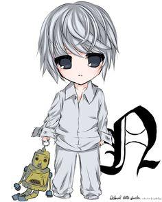 Nate River (Near) Death Note L Chibi, Anime Chibi, Kawaii Anime, Manga Anime, Death Note Light, L Death Note, Death Note Near, Dead Note Anime, Otaku Anime